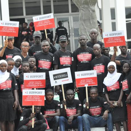 Cross section of youths at the state house of assembly supporting the Youth Development Commission Bill